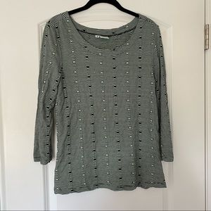 Green and Black Tianello Patterned Top